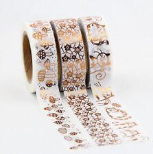 Juego de 3 Hoja De Oro Rosa de Cobre cintas Washi Masking Incluye Gratis Reino Unido Pp