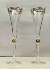 "2 Crystal Champagne Flutes Glasses Gold Metallic Ring and Design 10 1/4"" Wedding"
