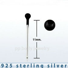 5pc 22g~1.5mm Black Plated Ball 925 Sterling Silver Bend It Your Self Nose Stud
