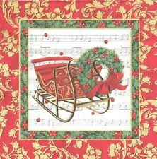 2 serviettes papier Traîneau de Noël Couronne Decoupage Paper Napkins Christmas