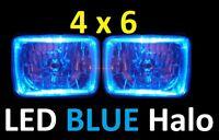 4x6 6x4 160x100 Hi/Low Outer LED Headlights Head Lights with LED BLUE Halo