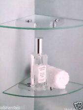 2 TIER CLEAR GLASS CORNER SHELF WALL MOUNT BATHROOM CORNER TIDY SHELVES SET NEW