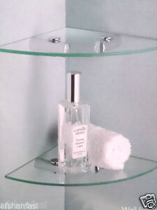 2 TIER CLEAR GLASS CORNER SHELF WALL MOUNT BATHROOM CORNER TIDY SHELVES SET NEW