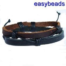 Men's REAL LEATHER BLACK BROWN bracelet