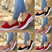 Women Wedge Heel Platform Bow Knot Pumps Slip On Comfy Loafers Shoes Size 6-9
