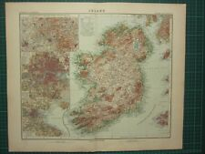 1907 DATED MAP ~ IRELAND LONDON ENVIRONS DUBLIN CONNAUGHT ULSTER MUNSTER