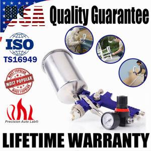 2.5mm HVLP Gravity Feed AIR SPRAY GUN Kit w/ Regulator Gauge Paint Sprayer US