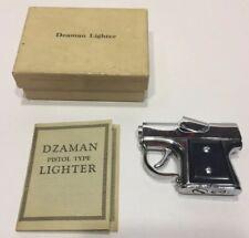 Rare size 1949 USA art deco Dzaman figural pistol gun automatic petrol lighter .