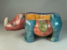 Raku Pottery, Africa, Figurine Of A Rhinoceros