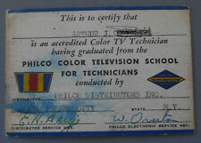 1950 Philco Color Television Repair Accreditation Card Original Uncommon