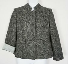 Armani Collezioni Italy Herringbone Gray Black Bow Wool Alpaca Jacket Blazer 6