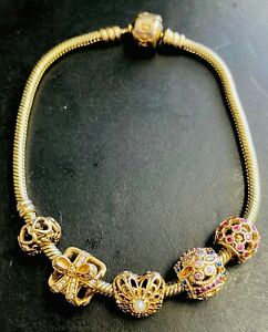 """14k GOLD PANDORA BRACELET WITH 5 CHARMS 8.25"""" INCHES LONG , 30 GRAMS - PRE-OWNED"""