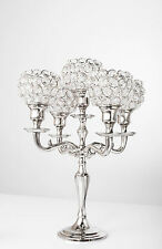 5 Arm Crystal Candelabra Votive Candle Holders Wedding Centerpieces 35CM