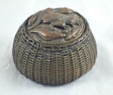 Meiji Period Bronze Fish Basket Inkwell