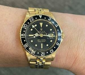 Vintage Rolex GMT-Master 18k Yellow Gold Black Nipple Dial 40mm Watch 1675/8