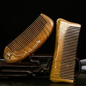 Natural Wood Hair Comb Anti Static Handmade Wooden Green Sandalwood Combs