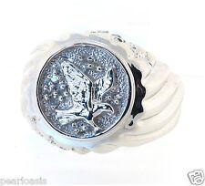 Men's Eagle Diamond Ring 0.10ctw 10K White Gold Size 10.5, Weight 5.2 Grams. NEW