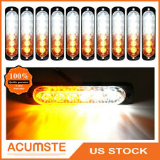 10x Amber/White Car 6 Led Emergency Warning Flash Strobe Light Kit Bar Universal