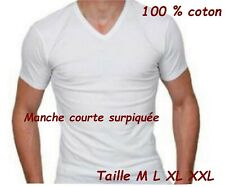 Lot 3 à 12 tee shirt homme col V tee shirt homme 100% coton blanc maillot homme