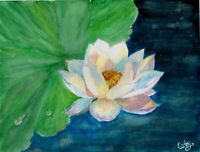 """Summer Delight"" ORIGINAL signed watercolor painting lotus flower nature"