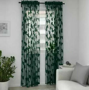 IKEA NÄSSELFJÄRIL Vorhang (145x300cm) 2 Gardinen dunkelgrün Schmetterling Neu OV
