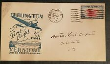 1939 Burlington to Colchester Vermont First Flight Illustrated Air Mail  Cover
