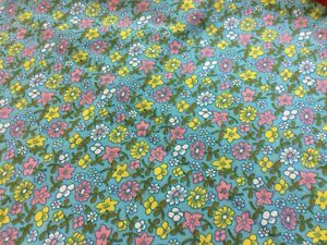 VtG 1940s Flour Feed Sack Fabric ~ Yellow Pink Floral on Aqua ~ 2-1/4 Yd CLEAN