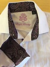 Men's ENGLISH LAUNDRY Purple Flip Cuff Button Front Dress Shirt Size 16-34/35