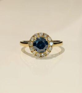 14K Yellow Gold Blue Diamond Ladies Dress Ring