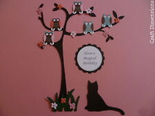EXCLUSIVE CONTEMPORARY OWLS WITH FLOWERS TREE BRANCH DIE CUTS