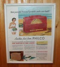 1950's Framed PHILCO PERSONAL TRANSITOR RADIO Advertising