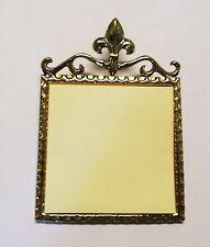 Brass Ornate Desk Post It Note Holder ~  Fleur de Lis gold tone
