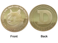 1Pc Gold Dogecoin Coins New Collectors Gold Plated Doge Coin Token #DOGE