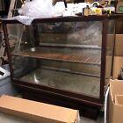 c1910 mahogany & glass floor country - cigar store case 48 x 42.5 x 25