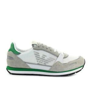 Emporio Armani White Green Beige Mesh Sneaker  Man
