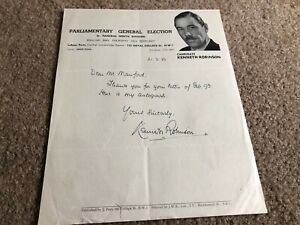 #MISC3712 - SIGNED LETTER - 1950 KENNETH ROBINSON - UK PARLIAMENT