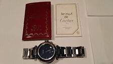 VINTAGE 1991 CARTIER PASHA STAINLESS STEEL AUTOMATIC RARE BLUE DIAL WRIST WATCH