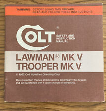 Colt Lawman Trooper Mk V Safety And Instruction Manual