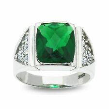 Men's Natural Diamond & Synthetic Emerald Ring in 14K White Gold (Oasis Custom)