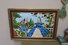 "Vintage Hand Made Stitched Needlepoint Framed 13"" x 20"" - 17"" x 24"""