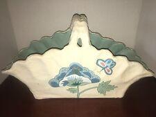 vintage pulp cardboard molded ivory painted basket floral design Euc