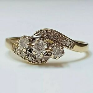 Vintage Victorian  cluster diamond ring, 9ct yellow gold