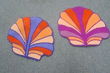 "Set @ 2 Vintage Hand Made Finished Needlepoint Sea Shell shaped 15"" x 13"""