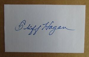 CLIFF HAGAN SIGNED AUTOGRAPH 3X5 INDEX CARD NBA HALL OF FAME ST. LOUIS HAWKS