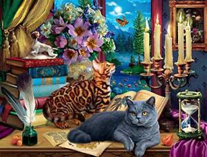 """Buffalo Games - Cats and Candelabra - 750 Piece Jigsaw Puzzle 24"""" x 18"""" Feb.1,21"""