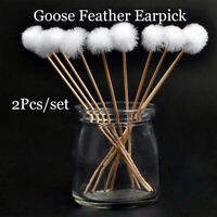 2Pc Elegant Goose Feather Earpick Remover Adult Bamboo Handle Ear Dig Tool Sales