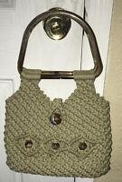 Vintage Bohemian/ Hippie Crochet Macrame Wood Handle Purse 👜