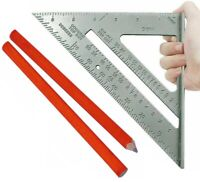 "Roofing Roofer Square 7"" Aluminum + Carpenter pencils Wood Working Alloy Tool"