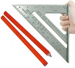 """Roofing Roofer Square 7"""" Aluminum + Carpenter pencils Wood Working Alloy Tool"""