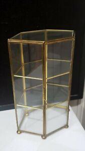Vintage 6 Sided Glass Brass Curio Hexagon Display Cabinet Tabletop Shelf